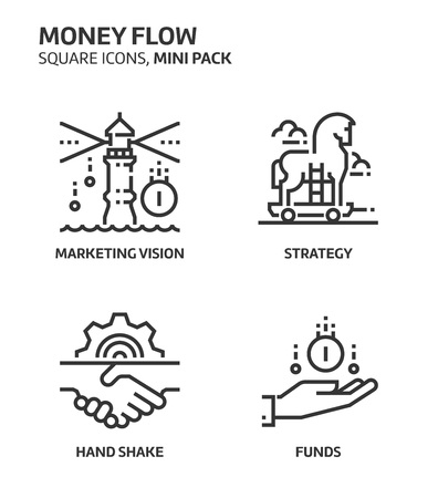 Money flow, square mini icon set. The illustrations are a vector, editable stroke, thirty-two by thirty-two matrix grid, pixel perfect files. Crafted with precision and eye for quality.