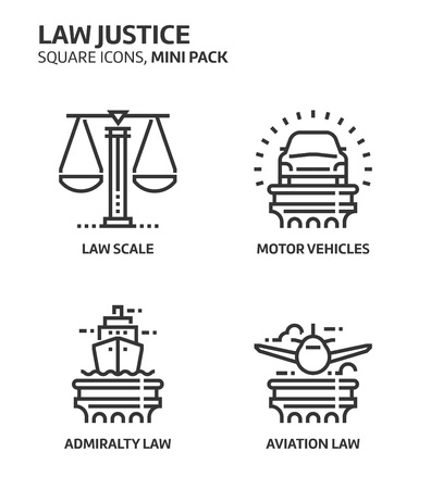 Law and justice, square mini icon set. The illustrations are a vector, editable stroke, thirty-two by thirty-two matrix grid, pixel perfect files. Crafted with precision and eye for quality.