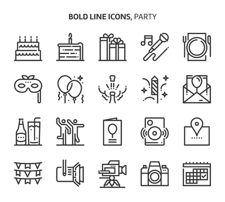 Party, event , bold line icons. The illustrations are a vector, editable stroke, 48x48 pixel perfect files. Crafted with precision and eye for quality. Иллюстрация