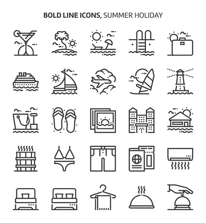 Summer holiday, bold line icons. The illustrations are a vector, editable stroke, 48x48 pixel perfect files. Crafted with precision and eye for quality.