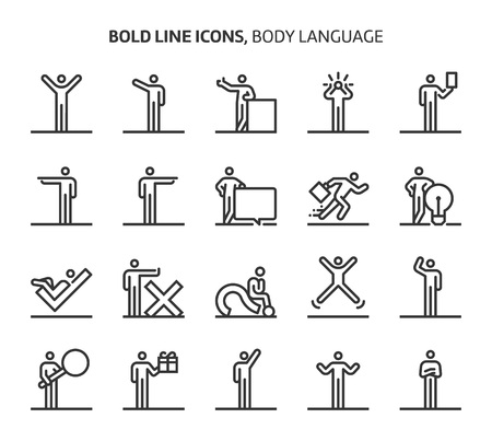 Body language, bold line icons. The illustrations are a vector, editable stroke, 48x48 pixel perfect files. Crafted with precision and eye for quality. Иллюстрация