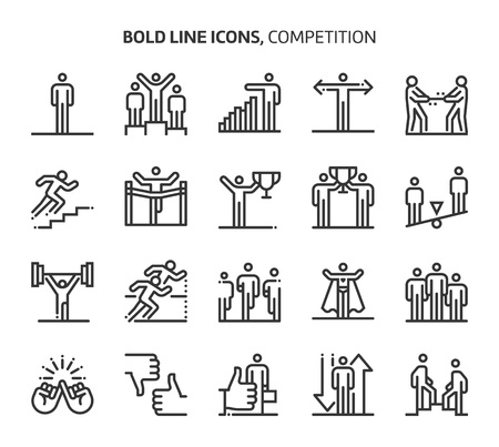 Competition, bold line icons. The illustrations are a vector, editable stroke, 48x48 pixel perfect files. Crafted with precision and eye for quality. Иллюстрация
