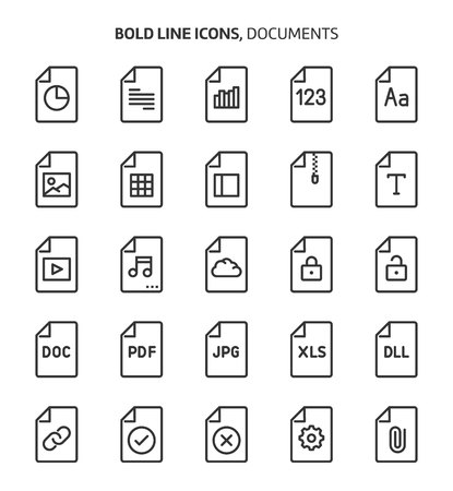 File types, bold line icons. The illustrations are a vector, editable stroke, 48x48 pixel perfect files. Crafted with precision and eye for quality.