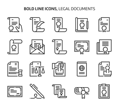 Legal documents , bold line icons. The illustrations are a vector, editable stroke, 48x48 pixel perfect files. Crafted with precision and eye for quality.