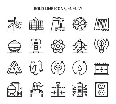 Energia, pogrubione ikony linii. Ilustracje to wektorowe, edytowalne pliki o wymiarach 48x48 pikseli. Wykonane z precyzją i dbałością o jakość.