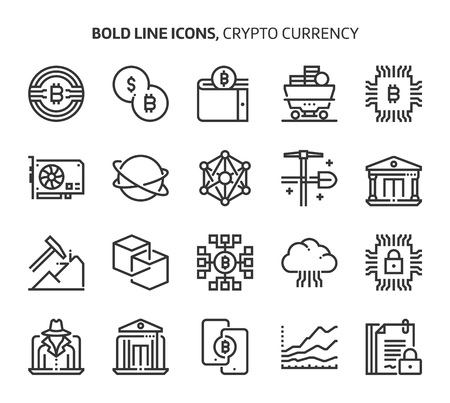 Crypto Currency, bold line icons. The illustrations are a vector, editable stroke, 48x48 pixel perfect files. Crafted with precision and eye for quality.