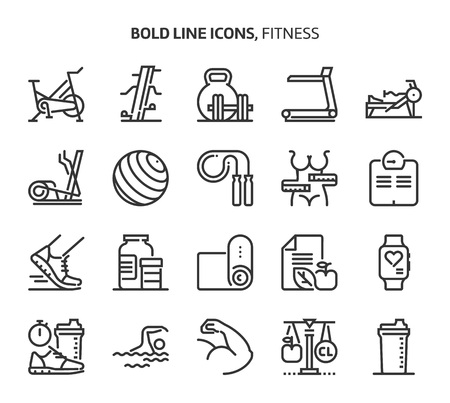 Fitness, bold line icons. The illustrations are a vector, editable stroke, 48x48 pixel perfect files. Crafted with precision and eye for quality.