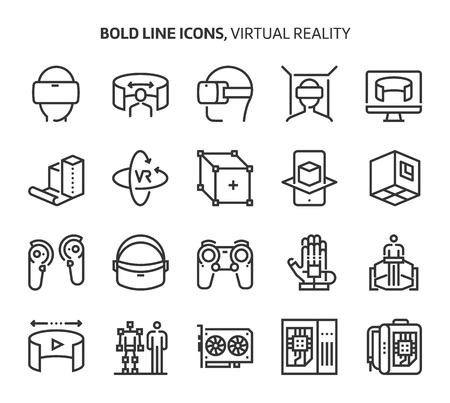 Virtual reality, bold line icons. The illustrations are a vector, editable stroke, 48x48 pixel perfect files. Crafted with precision and eye for quality. Иллюстрация