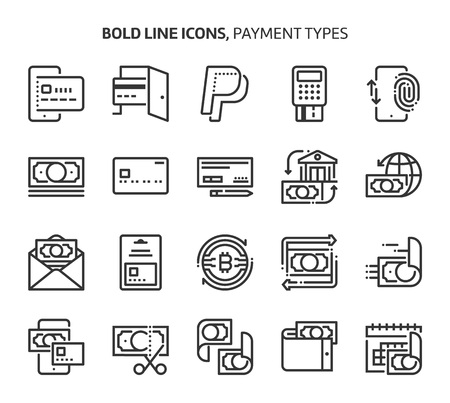 Payment types, bold line icons. The illustrations are a vector, editable stroke, 48x48 pixel perfect files. Crafted with precision and eye for quality.