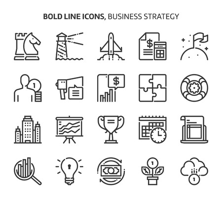 Business strategy, bold line icons. The illustrations are a vector, editable stroke, 48x48 pixel perfect files. Crafted with precision and eye for quality.