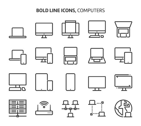 Computers, bold line icons. The illustrations are a vector, editable stroke, 48x48 pixel perfect files. Crafted with precision and eye for quality. Иллюстрация