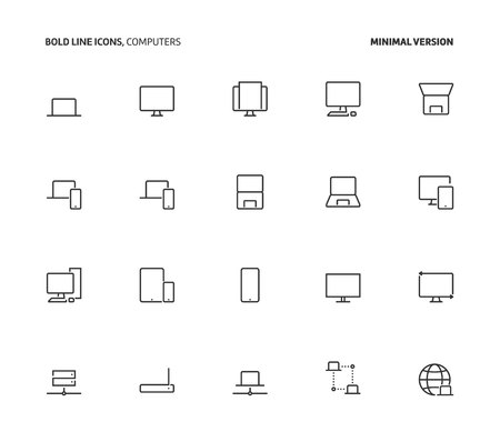 Computers, bold line icons, minimal version. The illustrations are vector, editable stroke, 48x48 pixel perfect files.