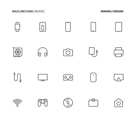 Devices, bold line icons, minimal version. The illustrations are vector, editable stroke, 48x48 pixel perfect files.