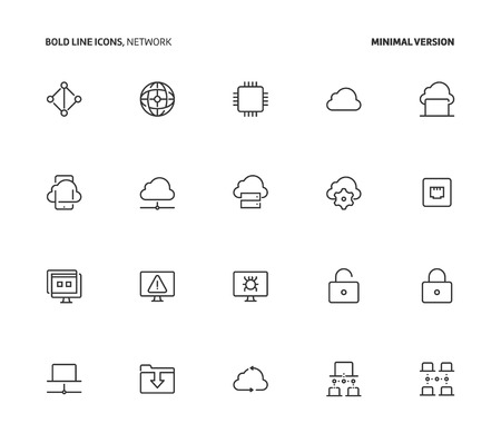 Network, bold line icons, minimal version. The illustrations are vector, editable stroke, 48x48 pixel perfect files.