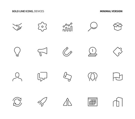 Business, bold line icons, minimal version. The illustrations are vector, editable stroke, 48x48 pixel perfect files.