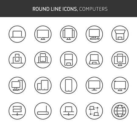 Computers theme, round line icons. The illustrations are vector , editable stroke, 64x64, pixel perfect files.  Crafted with passion.
