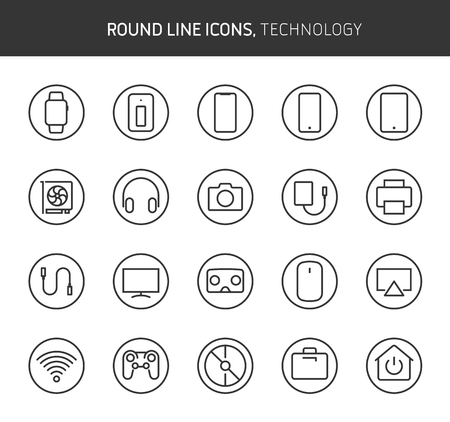 Technology theme, round line icons. The illustrations are vector , editable stroke, 64x64, pixel perfect files.  Crafted with passion.