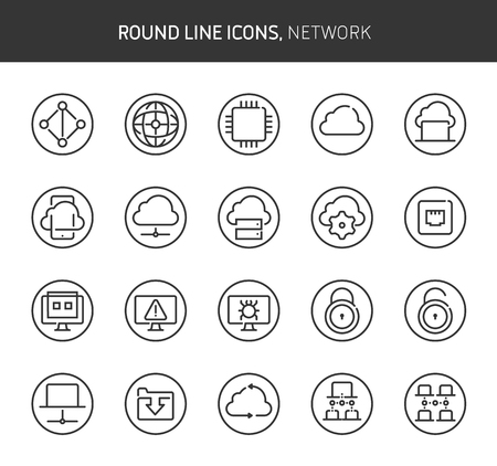 Network theme, round line icons. The illustrations are vector , editable stroke, 64x64, pixel perfect files.  Crafted with passion. Иллюстрация