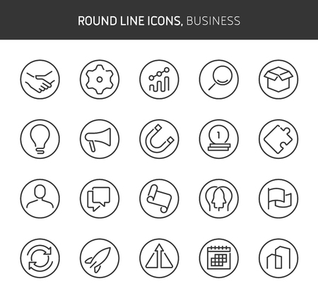 Business theme, round line icons. The illustrations are vector , editable stroke, 64x64, pixel perfect files.  Crafted with passion. Иллюстрация