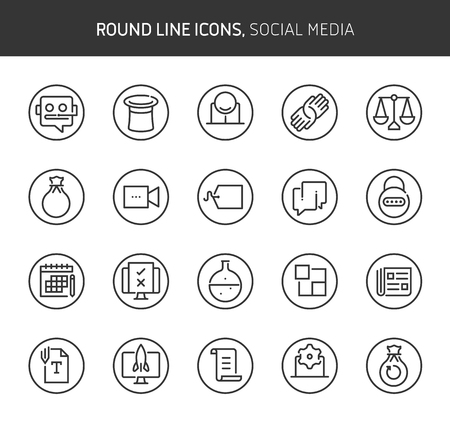 Social media theme, round line icons. The illustrations are vector , editable stroke, 64x64, pixel perfect files.  Crafted with passion. Иллюстрация