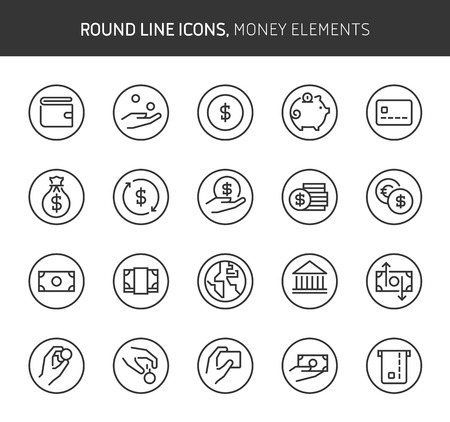 Money elements theme, round line icons. The illustrations are vector , editable stroke, 64x64, pixel perfect files.  Crafted with passion. Иллюстрация