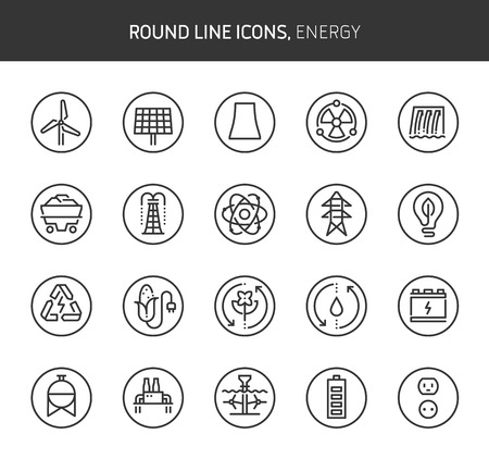 Energy theme, round line icons. The illustrations are vector , editable stroke, 64x64, pixel perfect files.  Crafted with passion. Stock Illustratie