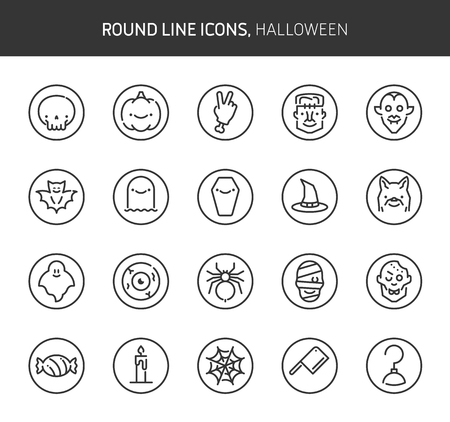 Halloween cute theme, round line icons. The illustrations are vector , editable stroke, 64x64, pixel perfect files.  Crafted with passion.