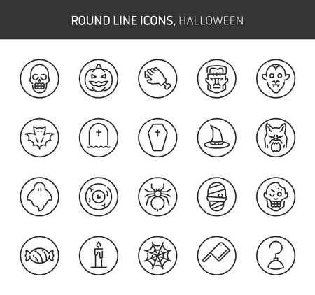 Halloween theme, round line icons. The illustrations are vector , editable stroke, 64x64, pixel perfect files.  Crafted with passion.