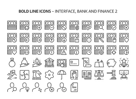 Bank and finance, bold line icons. The illustrations are a vector, editable stroke, 48x48 pixel perfect files. Crafted with precision and eye for quality.