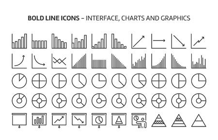 Graphs, bold line icons. The illustrations are a vector, editable stroke, 48x48 pixel perfect files. Crafted with precision and eye for quality.