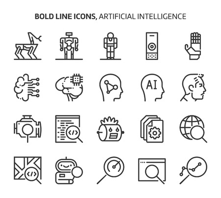 Artificial intelligence, bold line icons. The illustrations are a vector, editable stroke, 48x48 pixel perfect files. Crafted with precision and eye for quality.