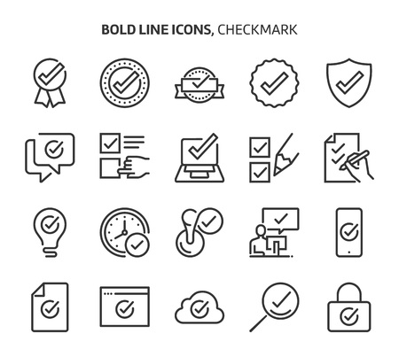 Check mark, bold line icons. The illustrations are a vector, editable stroke, 48x48 pixel perfect files. Crafted with precision and eye for quality.
