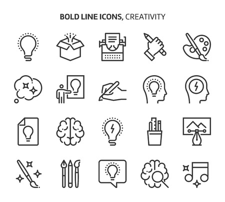 Creativity, bold line icons. The illustrations are a vector, editable stroke, 48x48 pixel perfect files. Crafted with precision and eye for quality. Illustration