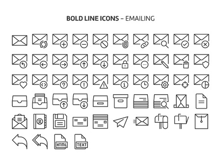 Emailing, bold line icons. The illustrations are a vector, editable stroke, 48x48 pixel perfect files. Crafted with precision and eye for quality. Иллюстрация