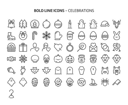 Celebrations, bold line icons. The illustrations are a vector, editable stroke, 48x48 pixel perfect files. Crafted with precision and eye for quality.