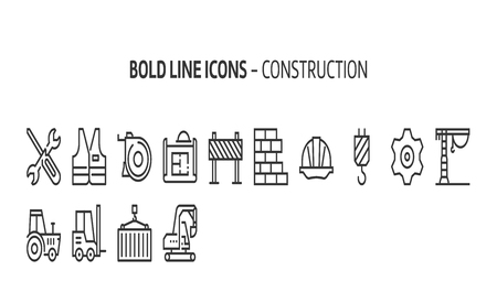 Construction, bold line icons. The illustrations are a vector, editable stroke, 48x48 pixel perfect files. Crafted with precision and eye for quality. Иллюстрация