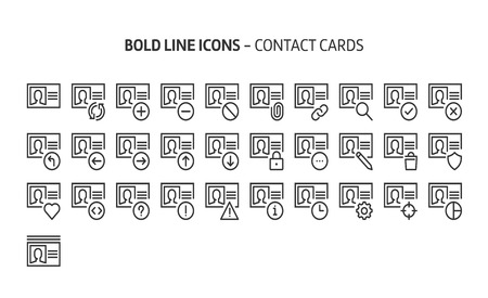 Contact cards, bold line icons. The illustrations are a vector, editable stroke, 48x48 pixel perfect files. Crafted with precision and eye for quality.