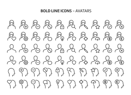 Avatars, bold line icons. The illustrations are a vector, editable stroke, 48x48 pixel perfect files. Crafted with precision and eye for quality. Иллюстрация