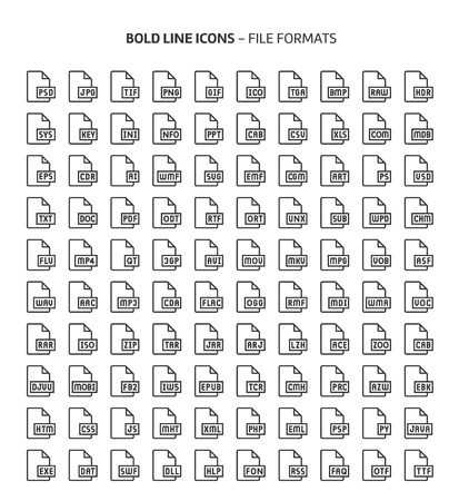 File formats, bold line icons. The illustrations are a vector, editable stroke, 48x48 pixel perfect files. Crafted with precision and eye for quality.