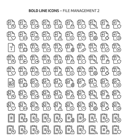 File management 2, bold line icons. The illustrations are a vector, editable stroke, 48x48 pixel perfect files. Crafted with precision and eye for quality.