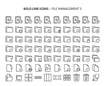 File management 3, bold line icons. The illustrations are a vector, editable stroke, 48x48 pixel perfect files. Crafted with precision and eye for quality.