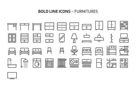 Furniture, bold line icons. The illustrations are a vector, editable stroke, 48x48 pixel perfect files. Crafted with precision and eye for quality. Иллюстрация