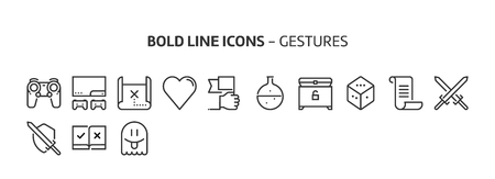 Game, bold line icons. The illustrations are a vector, editable stroke, 48x48 pixel perfect files. Crafted with precision and eye for quality. Иллюстрация