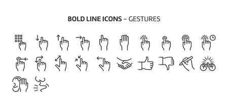 Gestures, bold line icons. The illustrations are a vector, editable stroke, 48x48 pixel perfect files. Crafted with precision and eye for quality. Иллюстрация