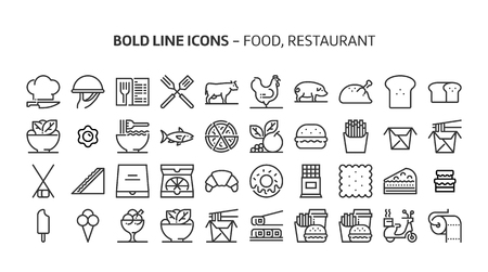 Restaurant, food, bold line icons. The illustrations are a vector, editable stroke, 48x48 pixel perfect files. Crafted with precision and eye for quality. Иллюстрация