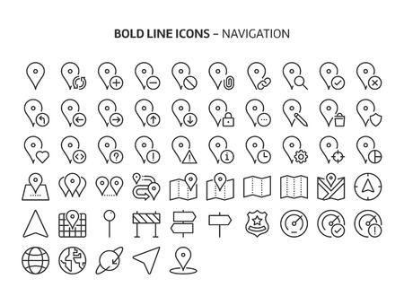 Navigation, bold line icons. The illustrations are a vector, editable stroke, 48x48 pixel perfect files. Crafted with precision and eye for quality. 版權商用圖片 - 125627986