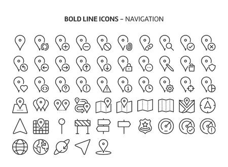 Navigation, fette Liniensymbole. Die Illustrationen sind ein Vektor, bearbeitbare Striche, 48x48 Pixel perfekte Dateien. Mit Präzision und einem Auge für Qualität gefertigt.