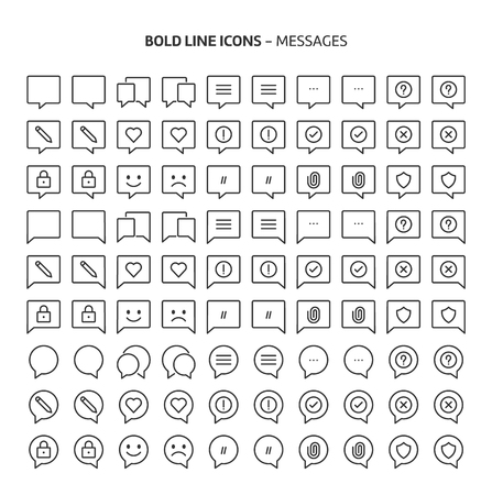 Messages, bold line icons. The illustrations are a vector, editable stroke, 48x48 pixel perfect files. Crafted with precision and eye for quality.