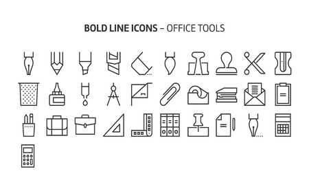 Office tools, bold line icons. The illustrations are a vector, editable stroke, 48x48 pixel perfect files. Crafted with precision and eye for quality.