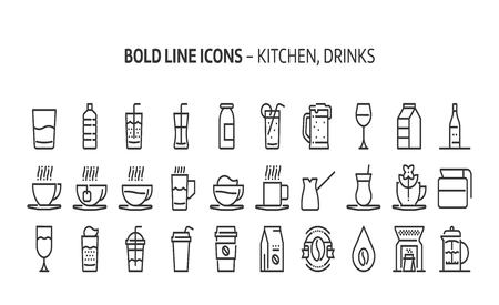 Kitchen, drinks, bold line icons. The illustrations are a vector, editable stroke, 48x48 pixel perfect files. Crafted with precision and eye for quality.